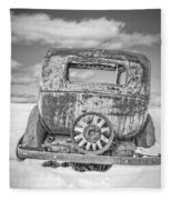 Rusty Old Car In The Snow Fleece Blanket