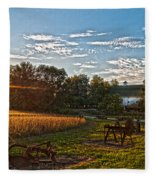 Rusty Old Farm Equipment Fleece Blanket
