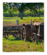Rusty Old Mccormick Deering Tractor Fleece Blanket