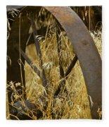 Rusty Old Wheel And Yellow Grasses Fleece Blanket