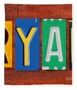 Ryan License Plate Name Sign Fun Kid Room Decor. Fleece Blanket