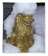 Ryukyuan Shisa Dog With Snow-hawk Fleece Blanket