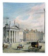 Sackville Street, Dublin, Showing The Post Office And Nelsons Column Fleece Blanket