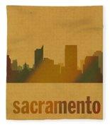 Sacramento California City Skyline Watercolor On Parchment Fleece Blanket