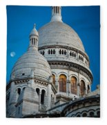 Sacre-coeur And Moon Fleece Blanket