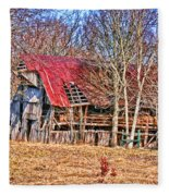 Sad Barn -  Featured In 'old Buildings And Ruins' Fleece Blanket