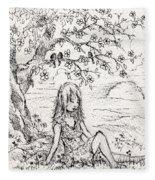 Sad Little Girl Fleece Blanket