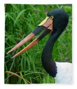 Saddle Billed Stork-00139 Fleece Blanket