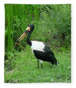 Saddle Billed Stork-136 Fleece Blanket