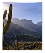 Saguaro Cacti And Catalina Mountains Fleece Blanket