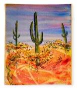 Saguaro Cactus Desert Landscape Fleece Blanket