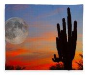 Saguaro Full Moon Sunset Fleece Blanket