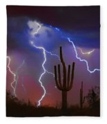 Saguaro Lightning Nature Fine Art Photograph Fleece Blanket