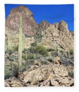 Saguaro On The Apache Trail Fleece Blanket
