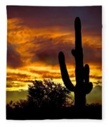 Saguaro Silhouette  Fleece Blanket