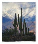 Saguaros And Snow Fleece Blanket