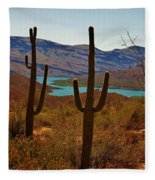 Saguaros In Arizona Fleece Blanket