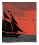 Key West Sunset Sail 5 Fleece Blanket