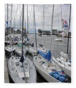 Sail Boats Docked For The Night Fleece Blanket