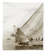 Sail Boats Little Anne And Virginia Collision On San Francisco Bay Circa 1886 Fleece Blanket
