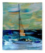 Sailboat And Abstract Fleece Blanket