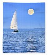 Sailboat At Full Moon Fleece Blanket