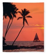 Sailboat At Sunset Fleece Blanket