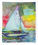 Sailboat Evening Wc On Paper Fleece Blanket