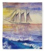 Sailboat In The Ocean Fleece Blanket