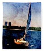 Sailboat Tilted Towers W Metal Fleece Blanket