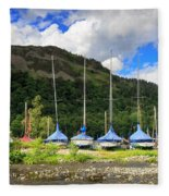 Sailboats At Glenridding In The Lake District Fleece Blanket