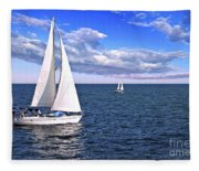 Sailboats At Sea Fleece Blanket