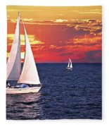 Sailboats At Sunset Fleece Blanket