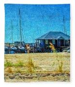 Sailboats Boat Harbor - Quiet Day At The Harbor Fleece Blanket