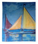 Sailboats With Red And Yellow Sails Fleece Blanket