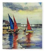 Sailing At Penarth Fleece Blanket
