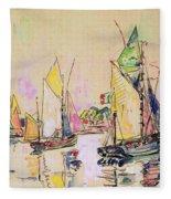 Sailing Boats At Les Sables D Olonne  Fleece Blanket