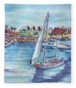 Sailing By Shoreline Village Fleece Blanket