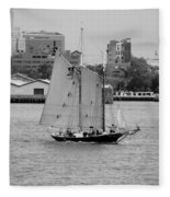 Sailing Free In Black And White Fleece Blanket