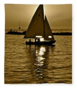 Sailing In Sepia Fleece Blanket