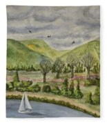 Sailing On A Cloudy Day Fleece Blanket