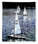 Sailing On Blue Fleece Blanket