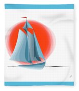 Sailing Red Sun Fleece Blanket