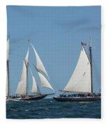 Sailing Ship In The Ocean At Gloucester Fleece Blanket