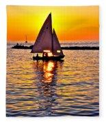 Sailing Silhouette Fleece Blanket