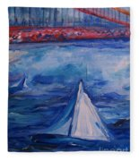 Sailing Under The Golden Gate Fleece Blanket