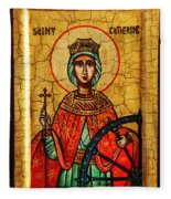 Saint Catherine Of Alexandria Icon Fleece Blanket
