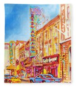 Saint Catherine Street Montreal Fleece Blanket