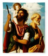 Saint Christopher With Saint Peter Fleece Blanket
