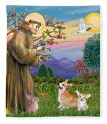 Saint Francis Blesses A Corgi And Her Pup Fleece Blanket